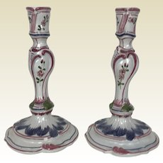 """Pair of 8"""" Faience Candlesticks"""
