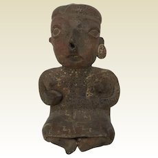 Pre Columbian Pottery Figure of Seated Woman Holding Bowl