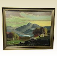 Antique Folk Art Oil on Canvas Mount Chocorua NH Stevenson Painting Foliage