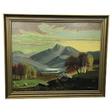 Antique Folk Art Oil on Canvas Mount Chocorua NH Stevenson Painting Foliage