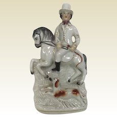 Rare Antique English Staffordshire Horse Rider W/ Running Dog Figurine