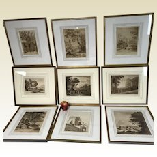 Group of 9 Similar Framed Ca.1802/1817 Prints of Roman European Castle Subjects
