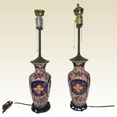 Pair of Antique Japanese Imari Porcelain Table Lamps