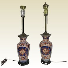 Pair of Antique Japanese Imari Porcelain Table Lamps