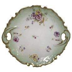 Beautiful Limoges Hand Painted Cake Serving Plate Tray W/ Pansy Flower & Gold De