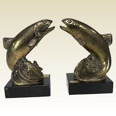 Pair of Vintage Cast Metal Brass Finish & Onyx Trout Salmon Fish Bookends
