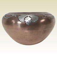 Silver Crest Arts & Craft Silver Sterling Overlay on Copper Vase