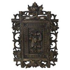 Antique Carved Swiss Black Forest Key Cabinet