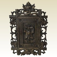 Antique Carved Swiss Black Forest Key Cabinet