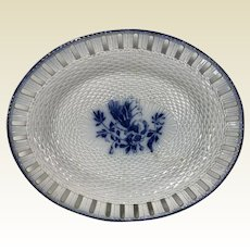 Early 1800 Pearlware Leeds Reticulated Platter W/ Woven Basket & Rope Design