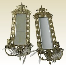 Pair of Antique Brass With Mirror & Candle Holder Wall Sconces  Neoclassical Motif