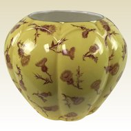 Circa 1888 Antique Royal Worcester Ribbed Melon Form Flower Vase in W/ Glaze