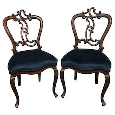 Pair of Victorian style Mahogany Accent Side Chair in Blue Velvet Upholstery