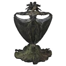 19th Century Art Nouveau Vase Double-Sided Maidens Cast Iron & Spelter