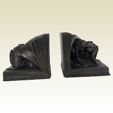 Circa 1920's Jennings Brothers Monkey in Book Bookends
