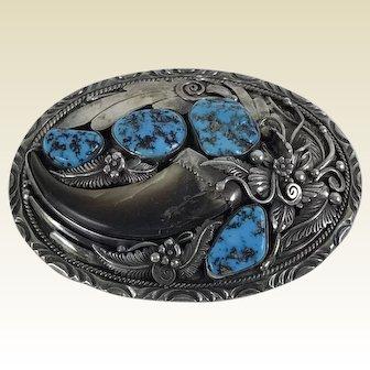 Large South West Navajo Baker Jeweler Toledo Sterling Belt Buckle Turquoise Bear Claw