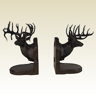 Large Limited Edition 38/50 Bronze Elk Bookends by Dennis Jones
