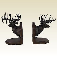 Large Limited Edition 38/50 Bronze Elk Bookends by Dennis Jones
