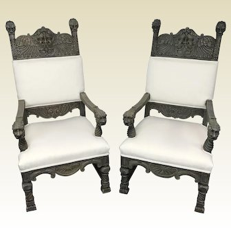 Pair of 19th C Gothic Revival Throne Chairs W/ North Win Face Carving