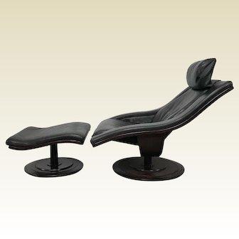 Mid Century Nelo Swedish Swivel Leather Lounge Chairs