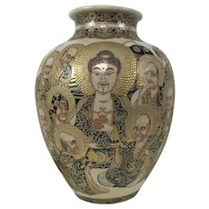 Fine Large Meiji Period Satsuma Vase W/ Buddha Kuan Yin & Elder Decoration