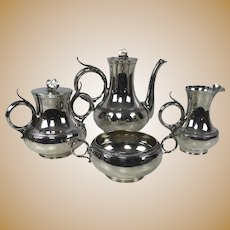 Fine 19th C Gorham Coin Silver 4 Piece Tea Set in Butterfly Pattern