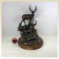 Large Limited Edition 49/50 Dennis Jones Bronze Sculpture 'buck Stops Here'