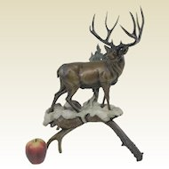 Large Limited Edition 3/40 Dennis Jones Bronze Sculpture 'Buck Fever'