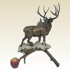Large Limited Edition 3/40 Dennis Jones Bronze Sculpture 'Buck Fever'