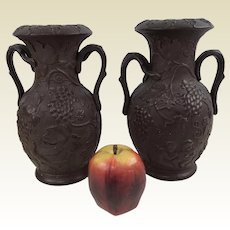 Pair of 19th C Ferdinand Gerbing FGW Grape Vine Branch Motif Brown Bronze Potter