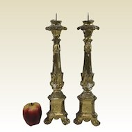 Pair of Circa 1800- 1820 Carved Gessoed Gilt Decorated Candle Sticks