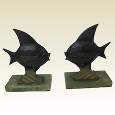Pair of Bronze / Brass / Onyx Art Deco Fish Bookends Germany