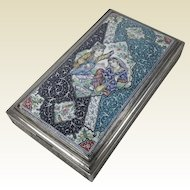 Antique Persian Isfahan Ottoman Solid Silver Box w/ Enamel Lover Scene