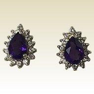 14k Yellow Gold Earrings W/ Amethyst & Diamonds
