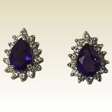 14k Yellow Gold Earrings W/ Amethyst & Diamonds