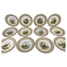 19th C Set of 12 Royal Worcester English Vitreous Game Bird Hand Painted Plates
