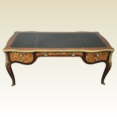 French Louis Xv Bombe Style Marquetry Inlaid Writing Desk With Ormolu Mounts