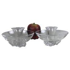 Fine Pair Coronet Candlesticks #8081 Steuben Glass Donald Pollard Design 1956