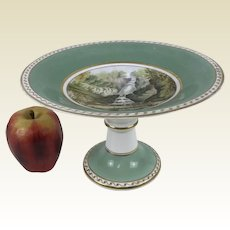 19th C English Porcelain Compote Cake Stand Hand Painted Green Gold Waterfall