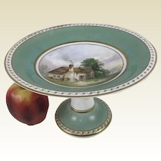 19th C English Porcelain Compote Cake Stand Hand Painted Green Gold Country Home Decoration