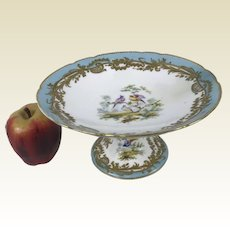 19th C English Porcelain Compote Cake Stand Hand Painted Baby Blue Bird Gold Decoration