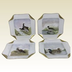 Set of 4 Hand Painted Game Bird Square Haviland Limoges Plates