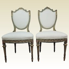 Pair of Ornate Early 20th C Louis XVI Shield Back Side Chairs in W/ Green & Gold leaf