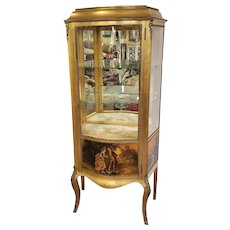 Vintage French Curved Glass Front Curio Cabinet Gold Leaf & Ormolu Decoration