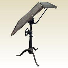 Antique Art / Drafting Oak Table W/ Cast Iron Adjustable Base Vintage Industrial