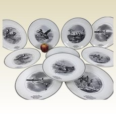 """Set of 10 Limoges For Abercrombie & Fitch Game Bird Porcelain Chargers Plates 11.5"""""""