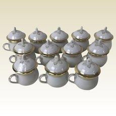 Set of 12 Old Paris Porcelain Pot-De-Creme