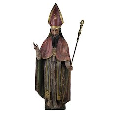 19th Century European Hand Carved Hand Painted Priest, Bishop, Saint