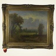 George W. King (American, 1836-1922) Landscape W/ Farmers in the Distance