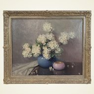 A. D. Greer Signed Framed Oil on Canvas Floral Still Life of Hydrangeas in Vase
